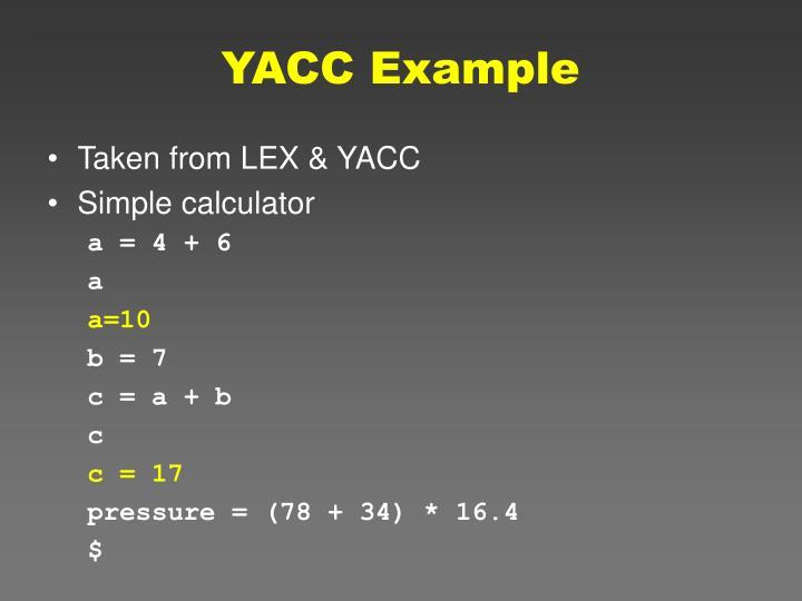 YACC Example