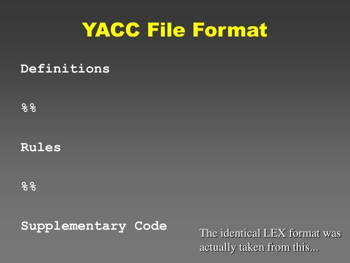YACC File Format