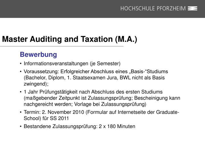 Master Auditing