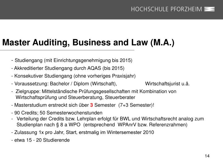 Master Auditing, Business and Law (M.A.)