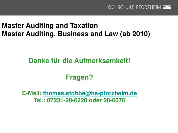 Master Auditing and Taxation