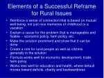 elements of a successful reframe for rural issues