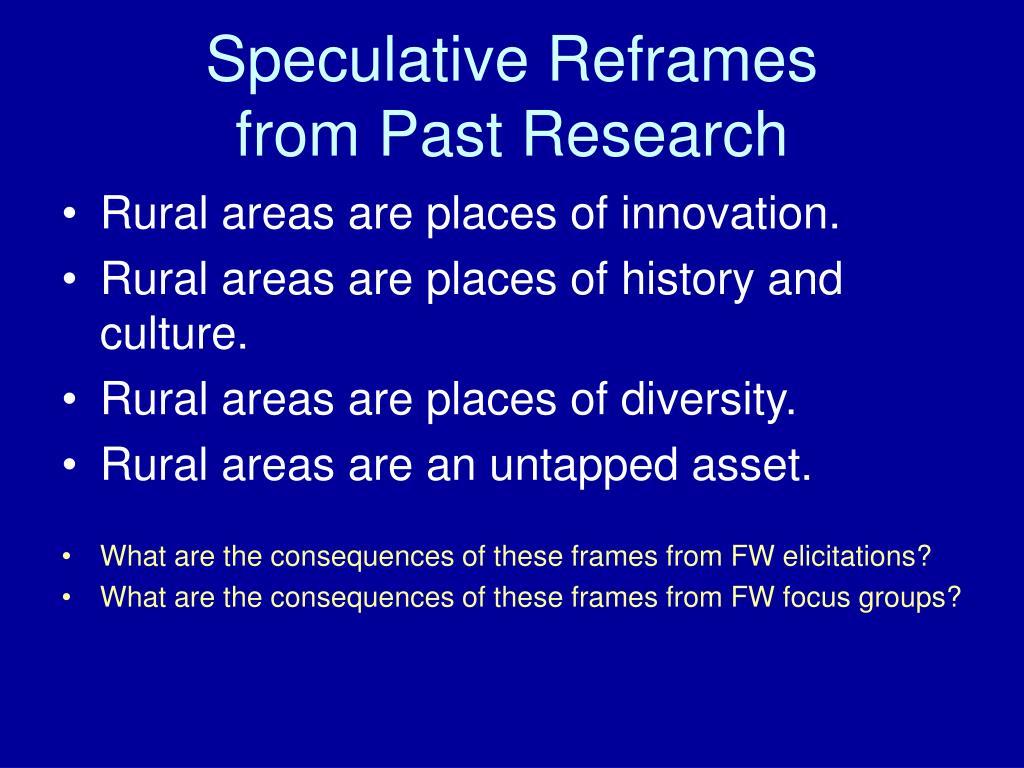 Speculative Reframes