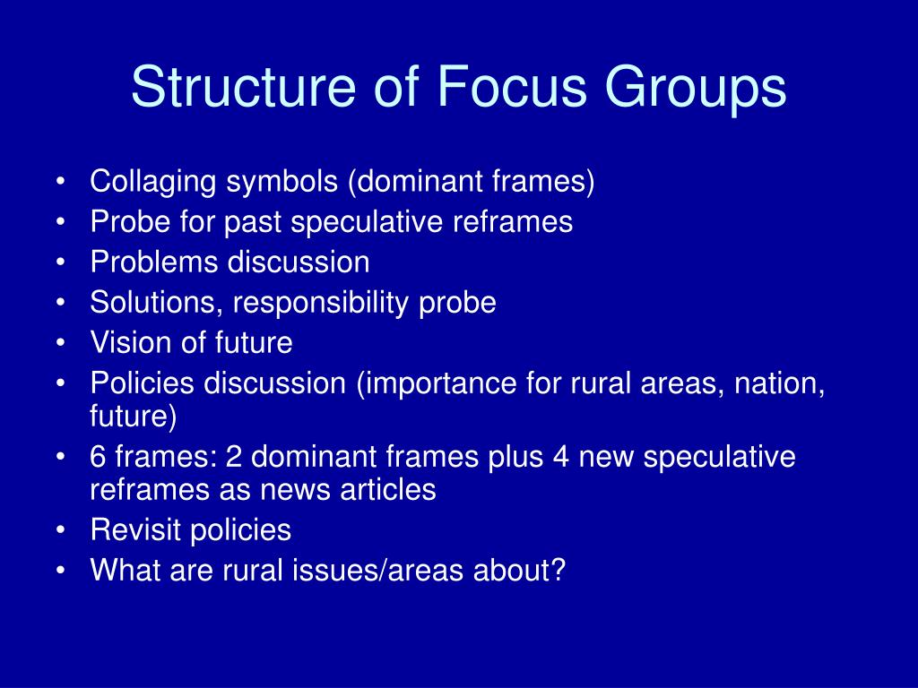 Structure of Focus Groups