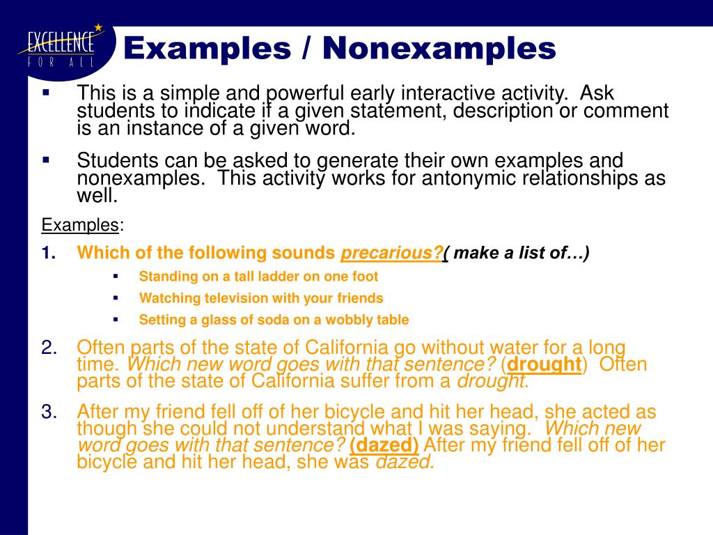 Examples / Nonexamples