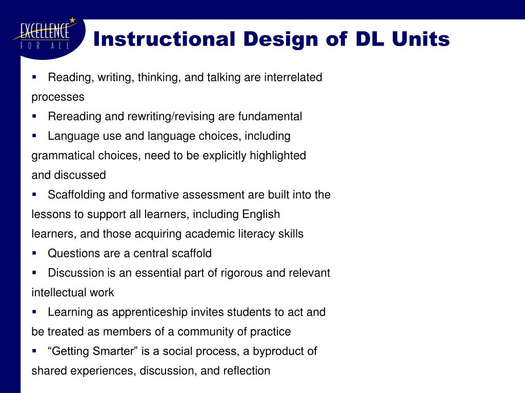 Instructional Design of DL Units
