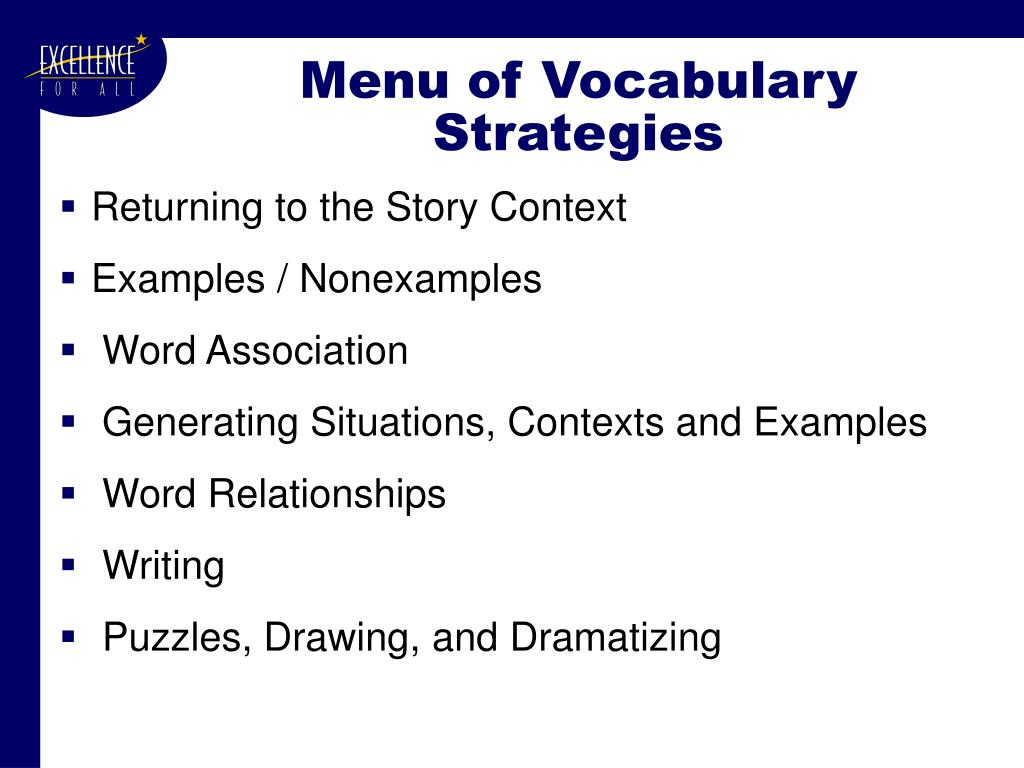 Menu of Vocabulary Strategies