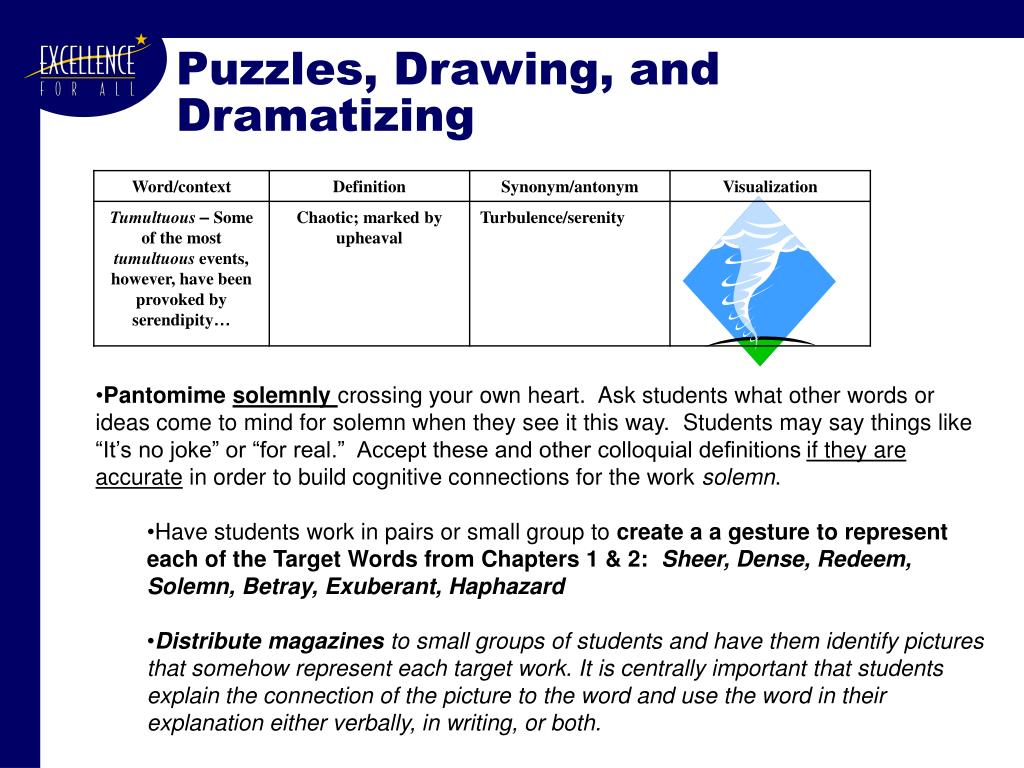 Puzzles, Drawing, and Dramatizing