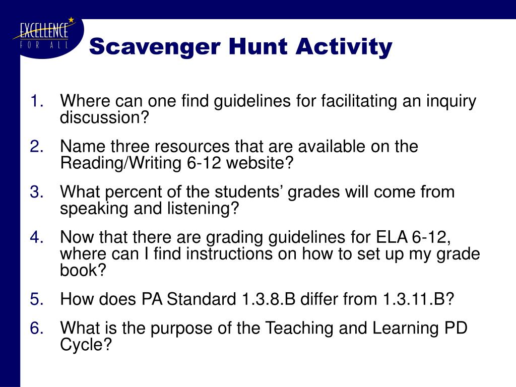 Scavenger Hunt Activity