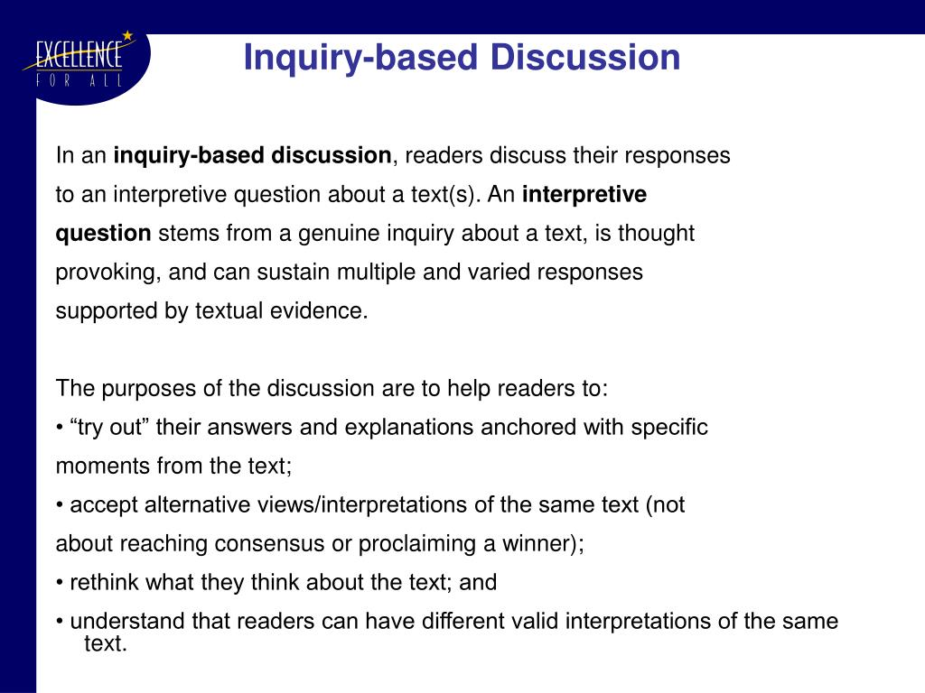 Inquiry-based Discussion