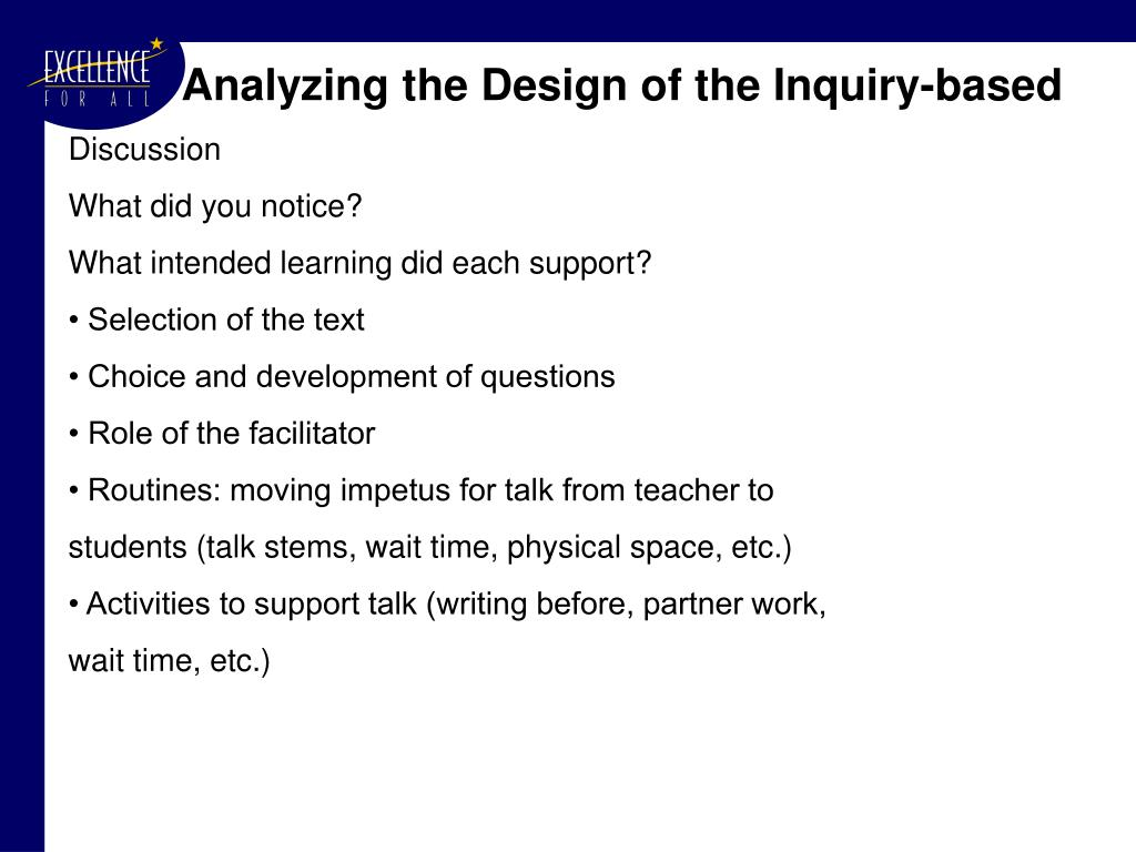 Analyzing the Design of the Inquiry-based