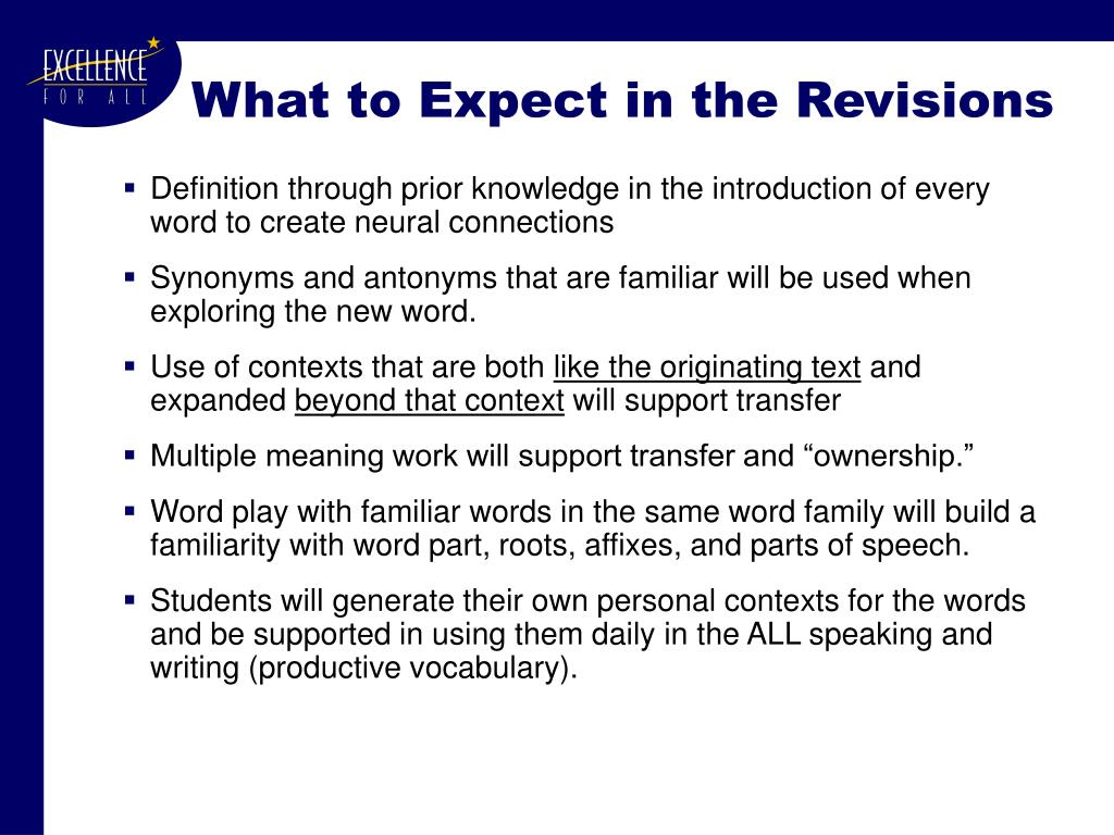 What to Expect in the Revisions