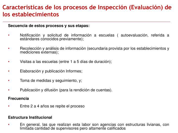 Características de los procesos de Inspección (Evaluación) de los establecimientos