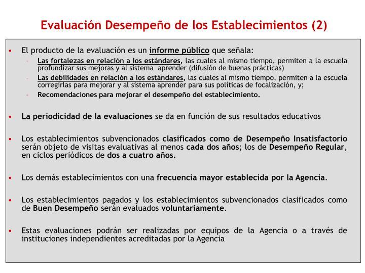 Evaluación Desempeño de los Establecimientos (2)