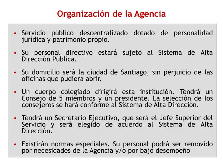 Organización de la Agencia