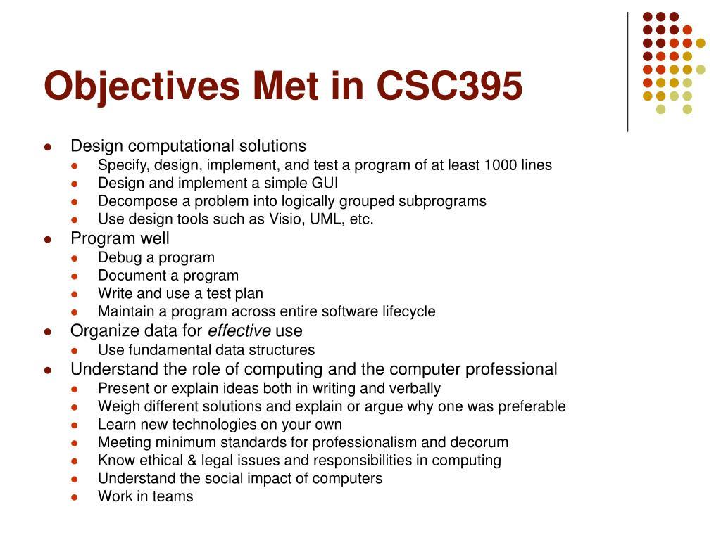 Objectives Met in CSC395