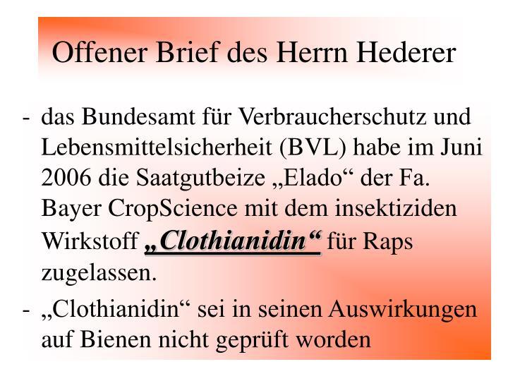 Offener Brief des Herrn Hederer