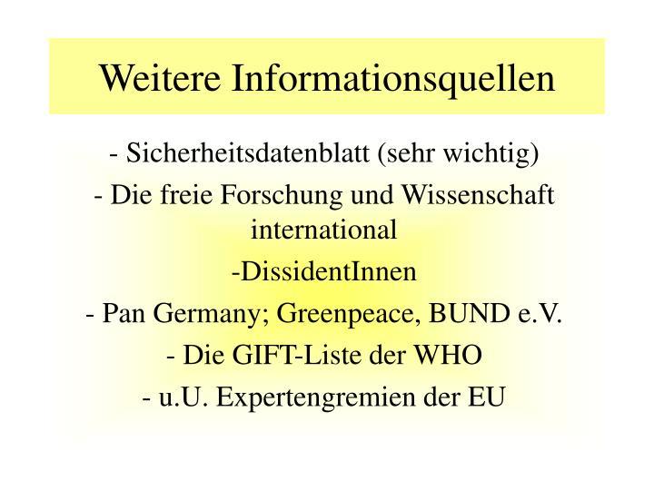 Weitere Informationsquellen