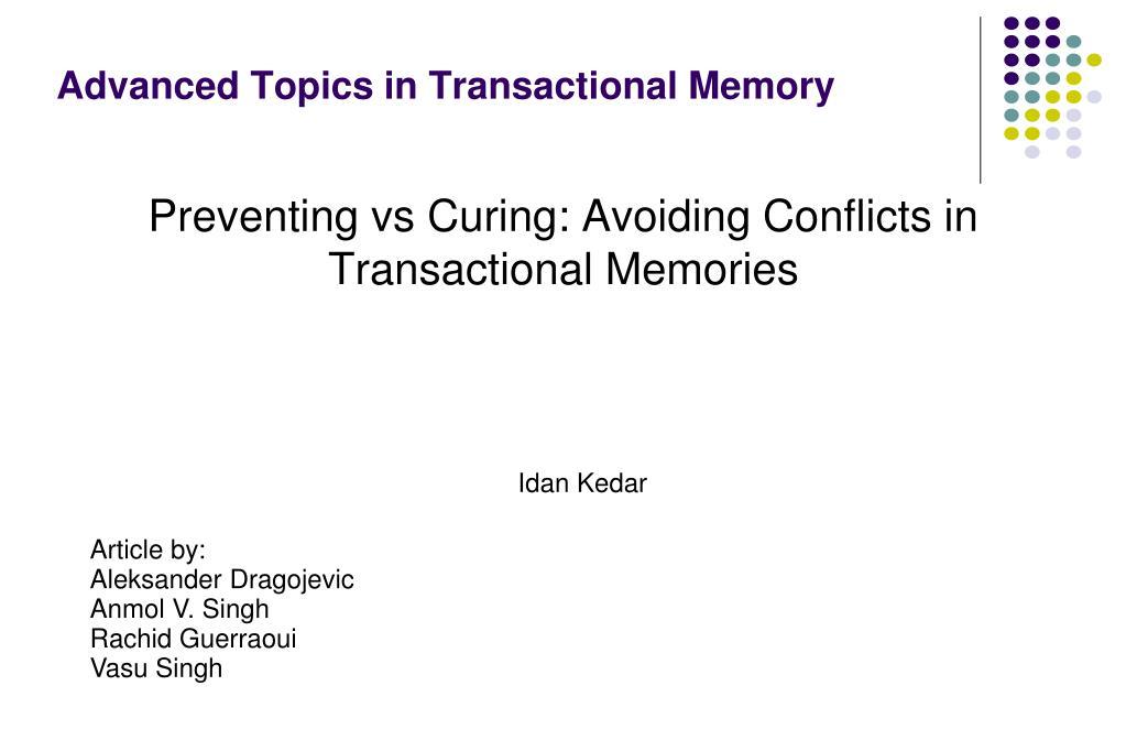 advanced topics in transactional memory