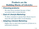 products are the building blocks of lifestyles