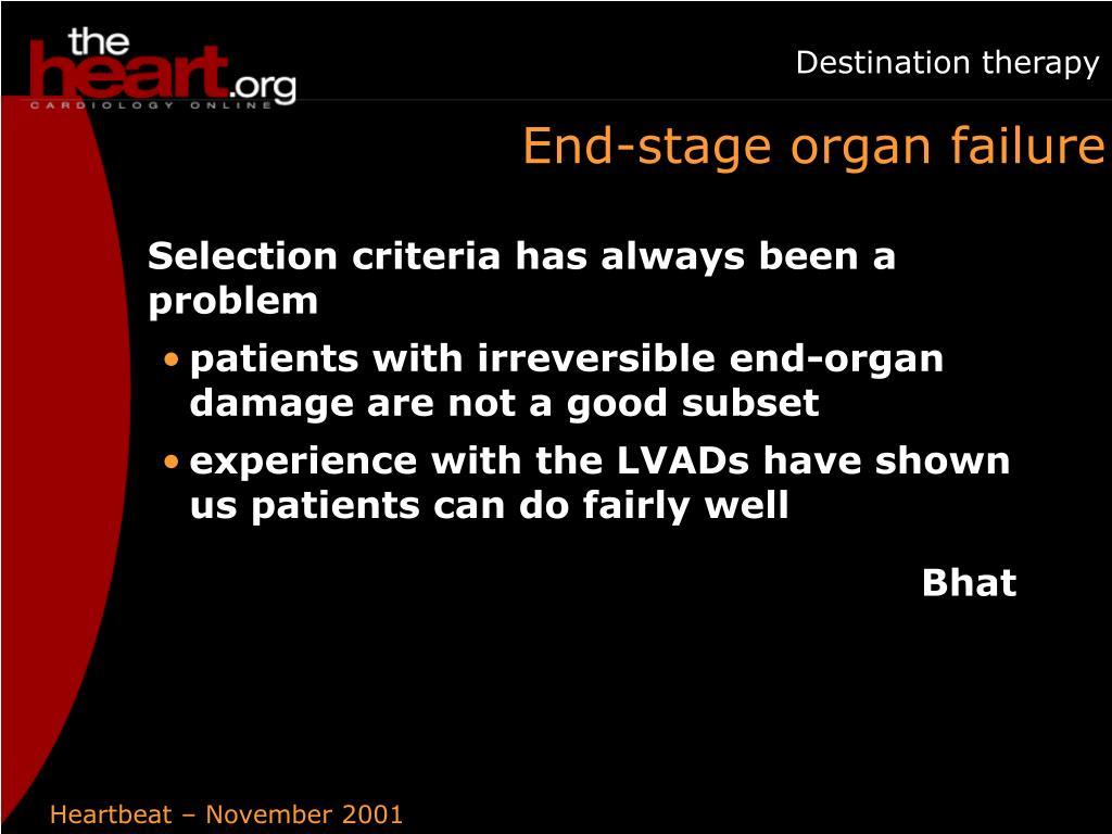 End-stage organ failure