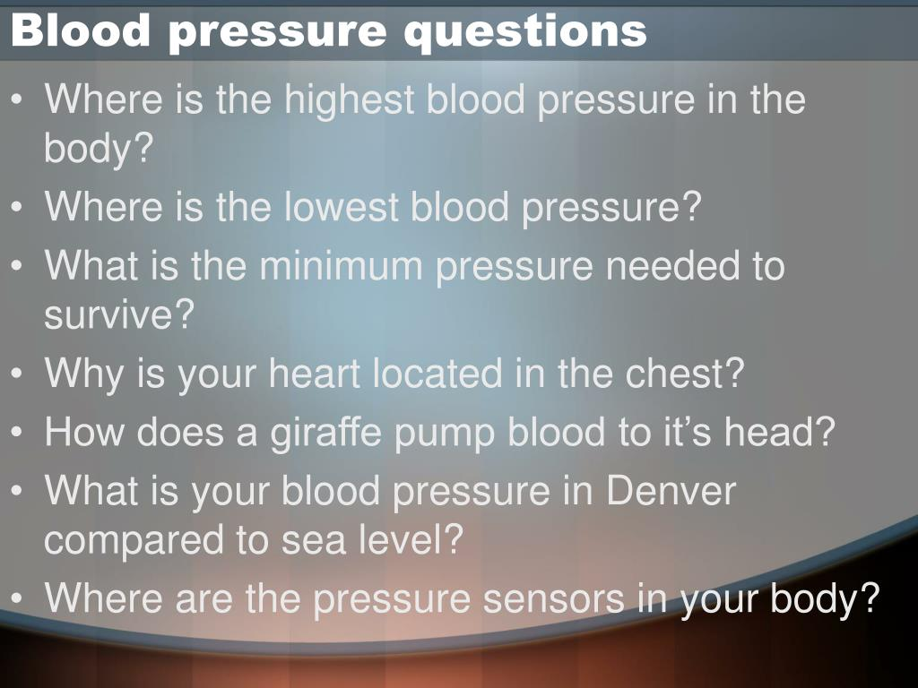 Blood pressure questions