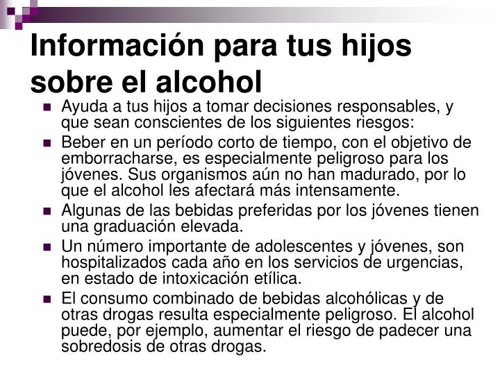 Información para tus hijos sobre el alcohol