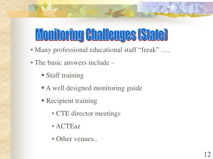 Monitoring Challenges (State)