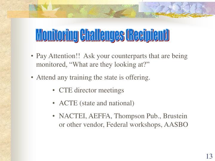 Monitoring Challenges (Recipient)