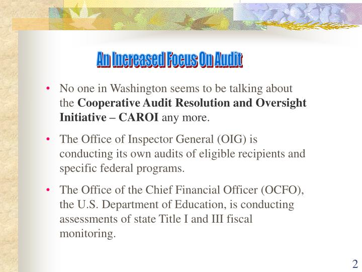 An Increased Focus On Audit