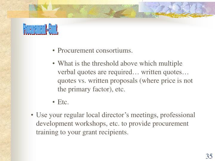 Procurement - Cont.