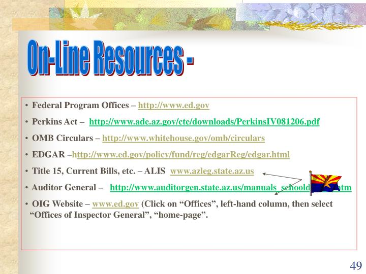 On-Line Resources -