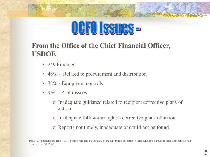 OCFO Issues -