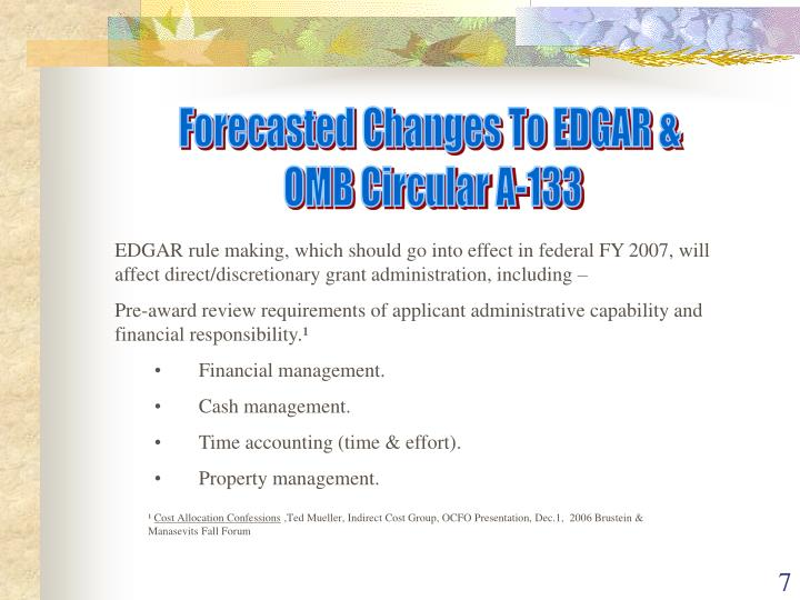 Forecasted Changes To EDGAR &