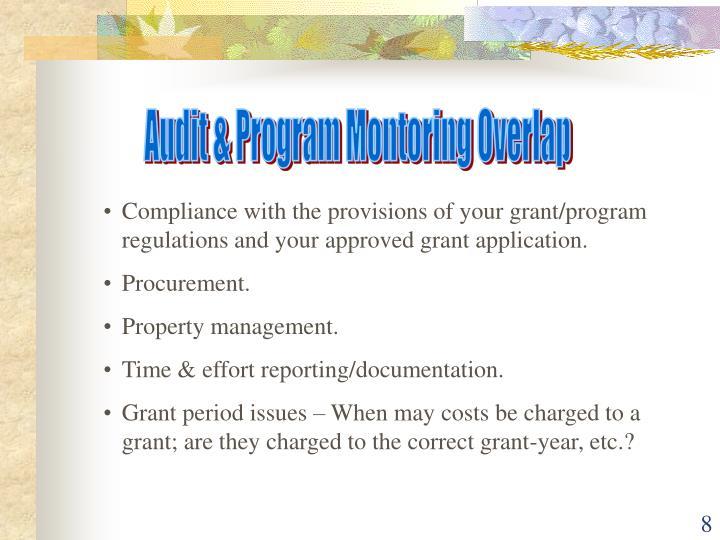 Audit & Program Montoring Overlap