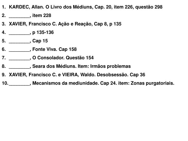 KARDEC, Allan. O Livro dos Mdiuns, Cap. 20, item 226, questo 298