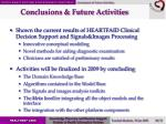 conclusions future activities