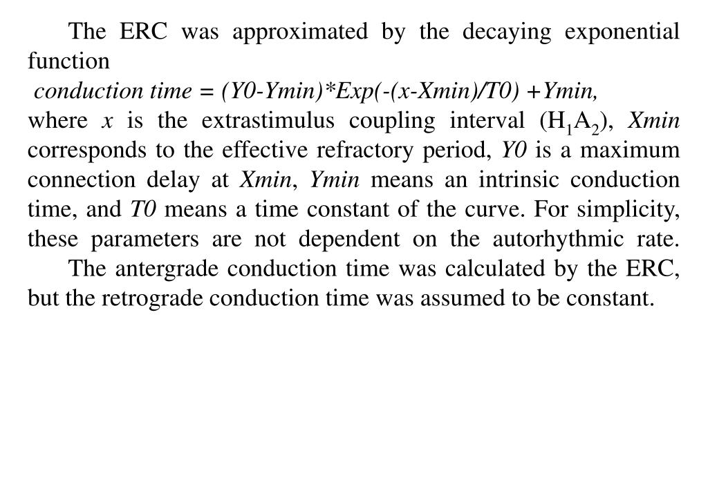 The ERC was approximated by the decaying exponential function