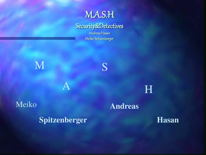 M a s h security detectives andreas hasan meiko spitzenberger