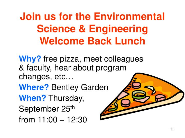 Join us for the Environmental Science & Engineering Welcome Back Lunch