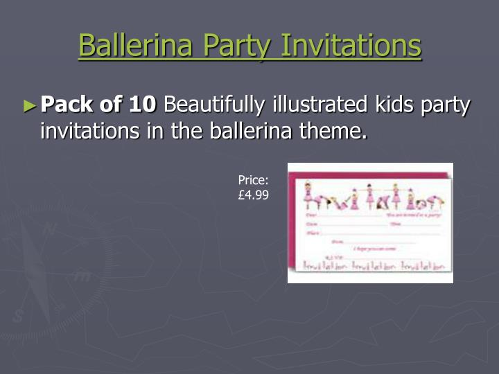 Ballerina party invitations