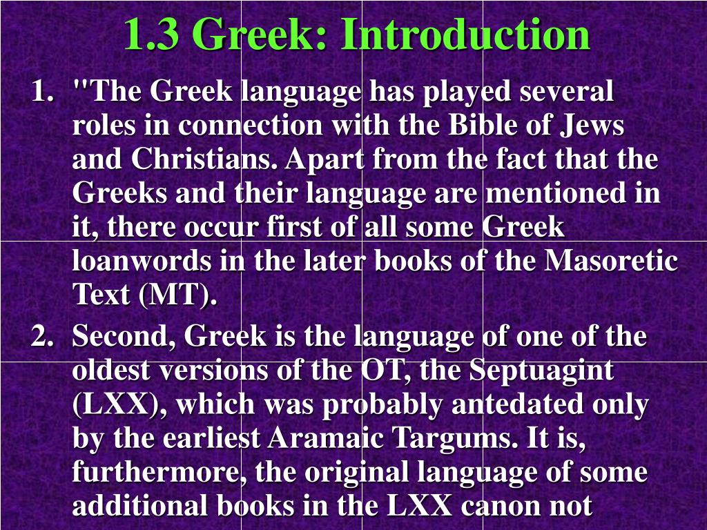 1.3 Greek: Introduction