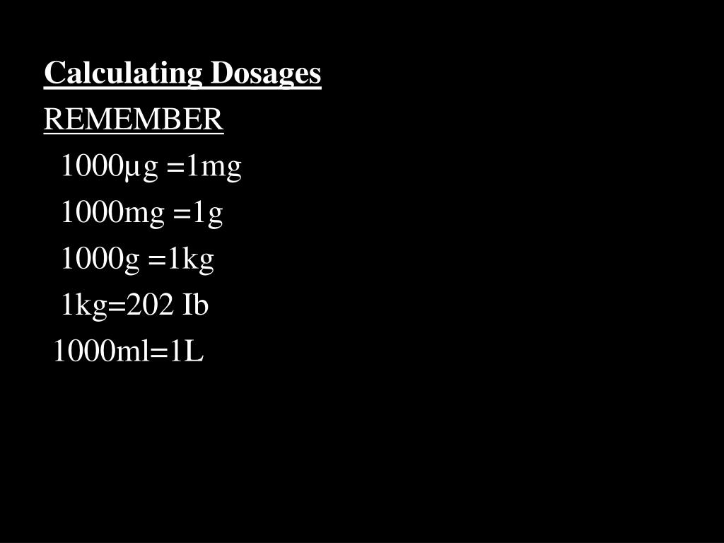 Calculating Dosages