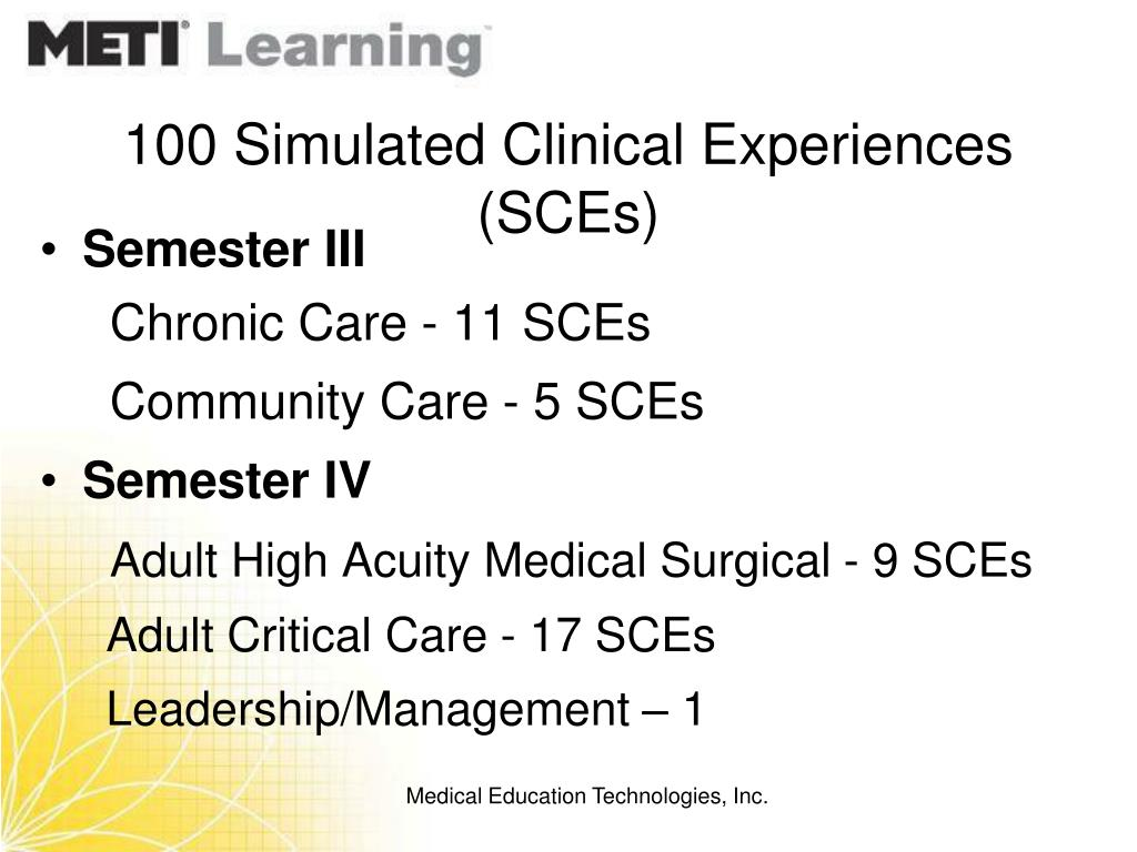 100 Simulated Clinical Experiences (SCEs)