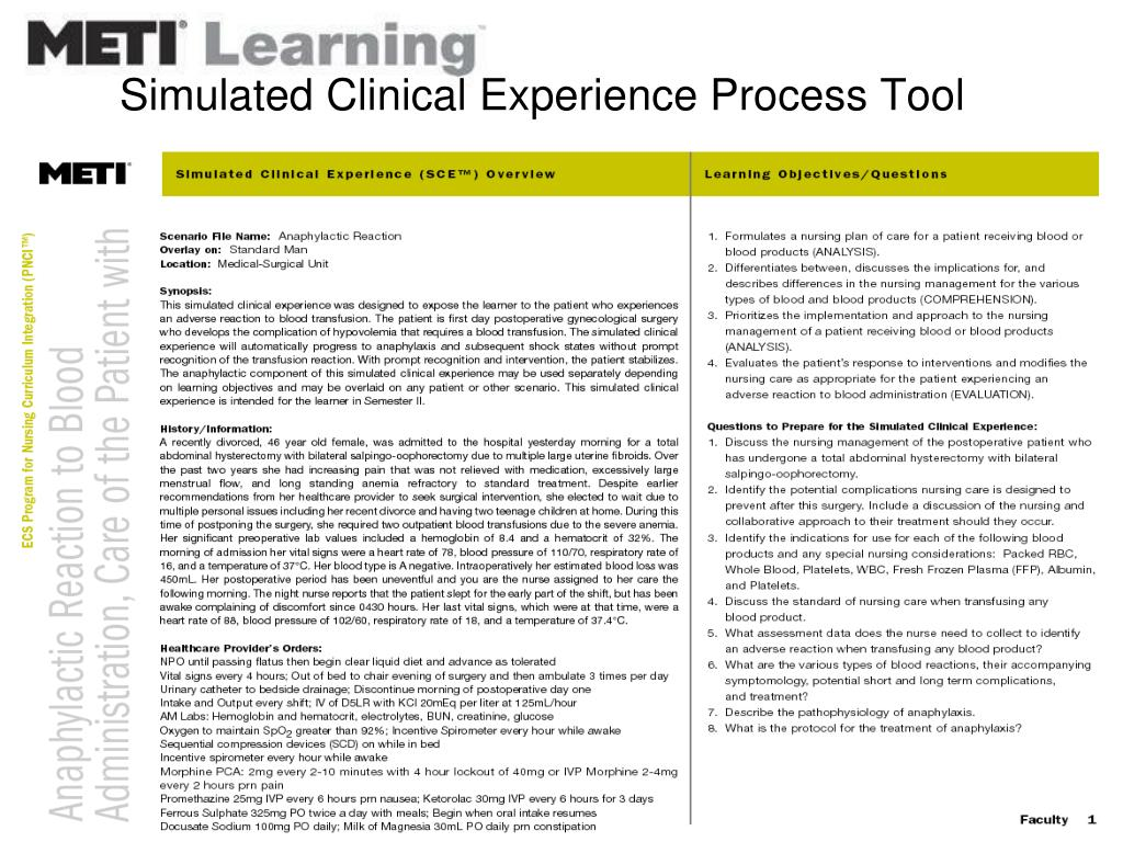 Simulated Clinical Experience Process Tool