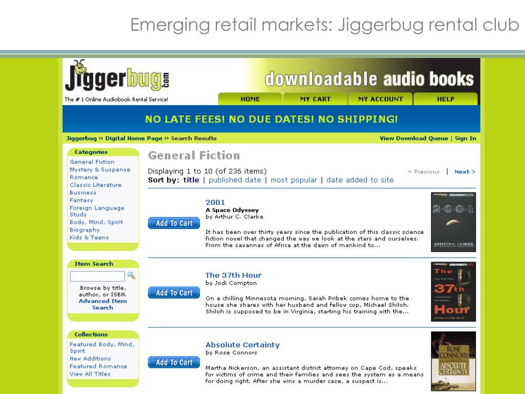 Emerging retail markets: Jiggerbug rental club
