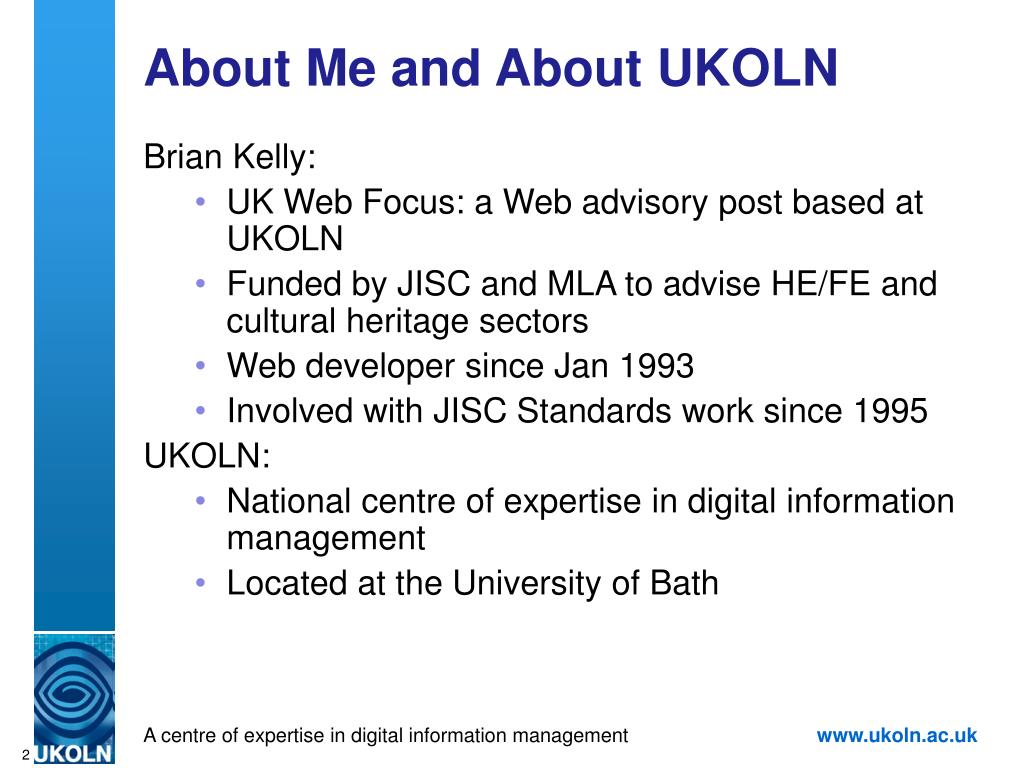About Me and About UKOLN
