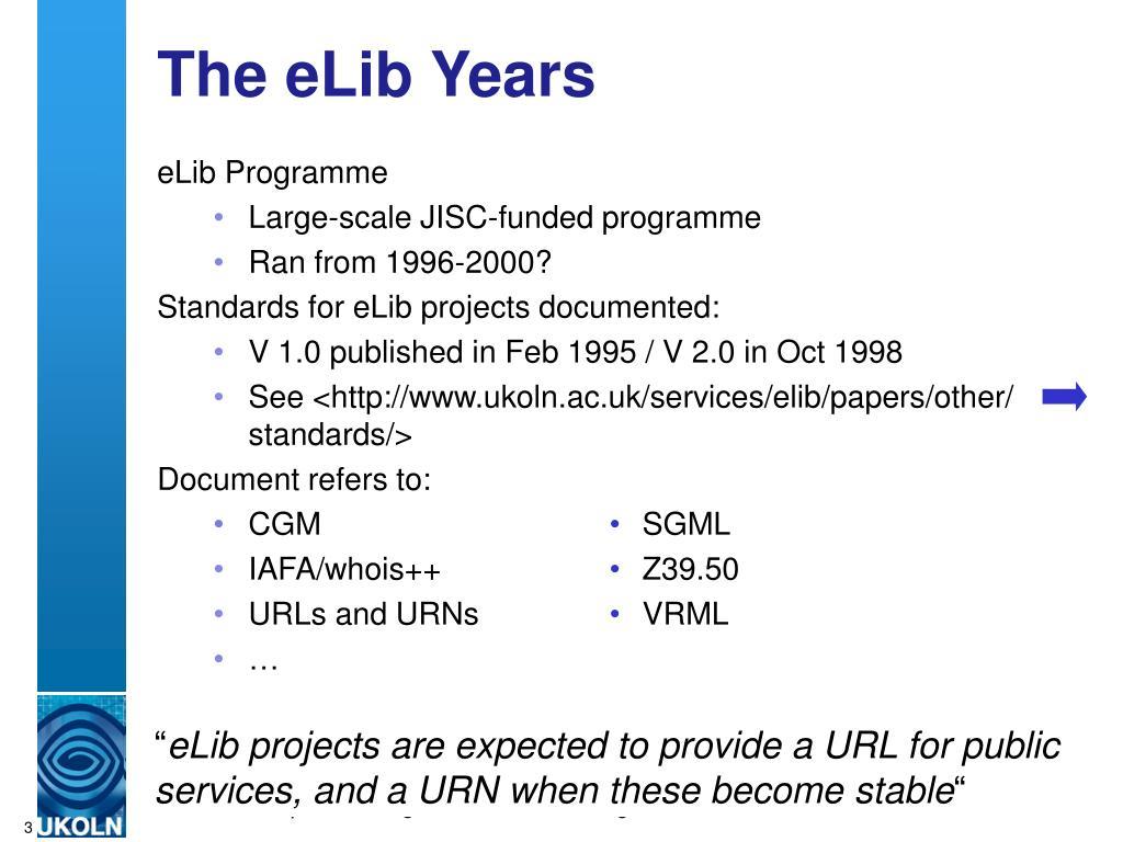 The eLib Years