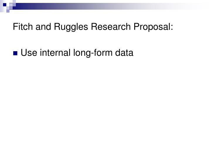 Fitch and Ruggles Research Proposal: