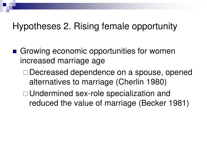 Hypotheses 2. Rising female opportunity